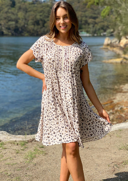 LA0665-1SS Leopard Print Tunic Dress (Pack) New Arrival