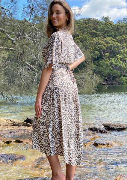 LA0580-4SS Midi Leopard Wrap Dress (Pack) New Arrival