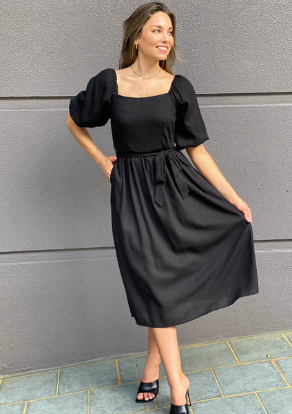 LA0715SS Linen Puff Shoulder Midi Dress (Pack)