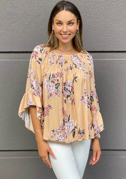 LA0481-7SS Floral Off-shoulder Top (Pack) New Arrival