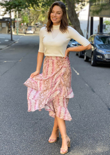 LA0512SS Pink Snake Print Skirt (Pack) New Arrivals
