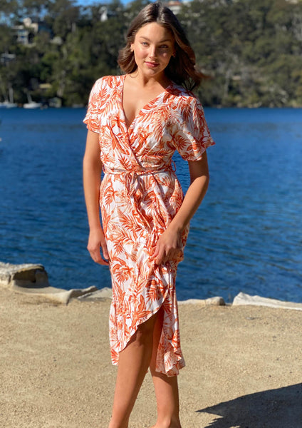 LA0427-1TB Orange Floral Wrap Dress (Pack) New Arrival
