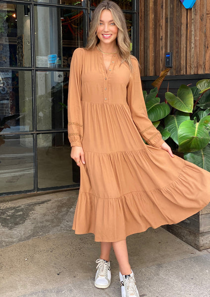 LA0898SS Camel Midi Johnny Collar Dress (Pack)