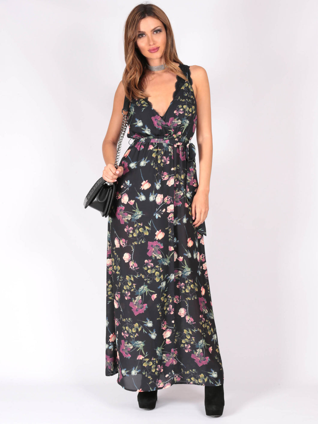 WV062SS Floral Ruffle Maxi Dress (Pack)