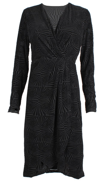 WW0078TB V-neck Long Sleeve Wrap Dress (Pack)