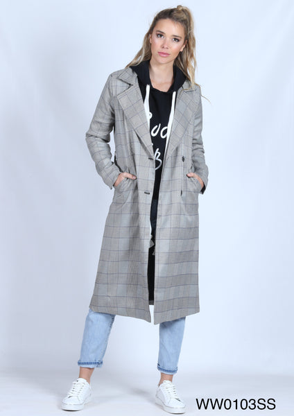 WW0103SS Check Print Trench Coat (Pack) New Arrivals
