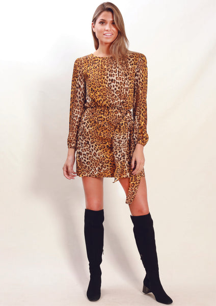 XW16071-2SS Leopard Print Side Knot Dress (Pack) On Sale