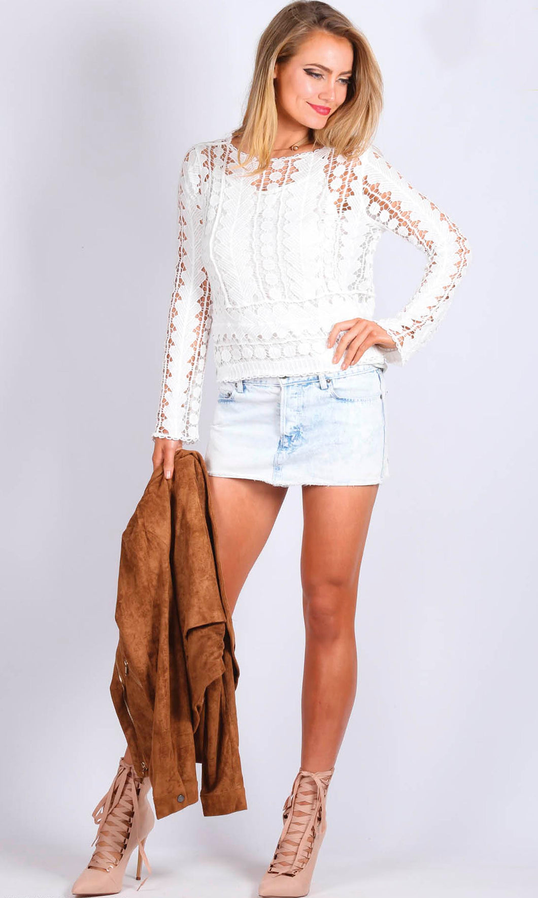 XW16104SS Crochet White Top (Pack) On Sale