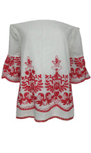 XW16139SS BOHO WHITE / RED EMBROIDERED TOP (Pack)