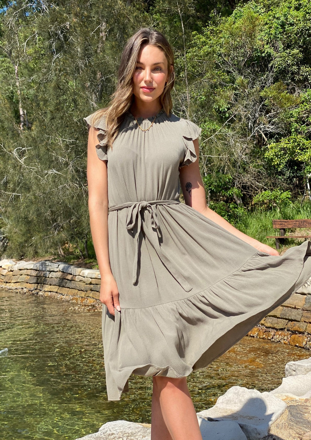 XW20371-1SS Khaki Midi Dress (Pack) On Sale