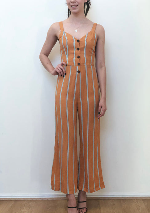 YW2187-3SS Striped Button Jumpsuit (Pack)