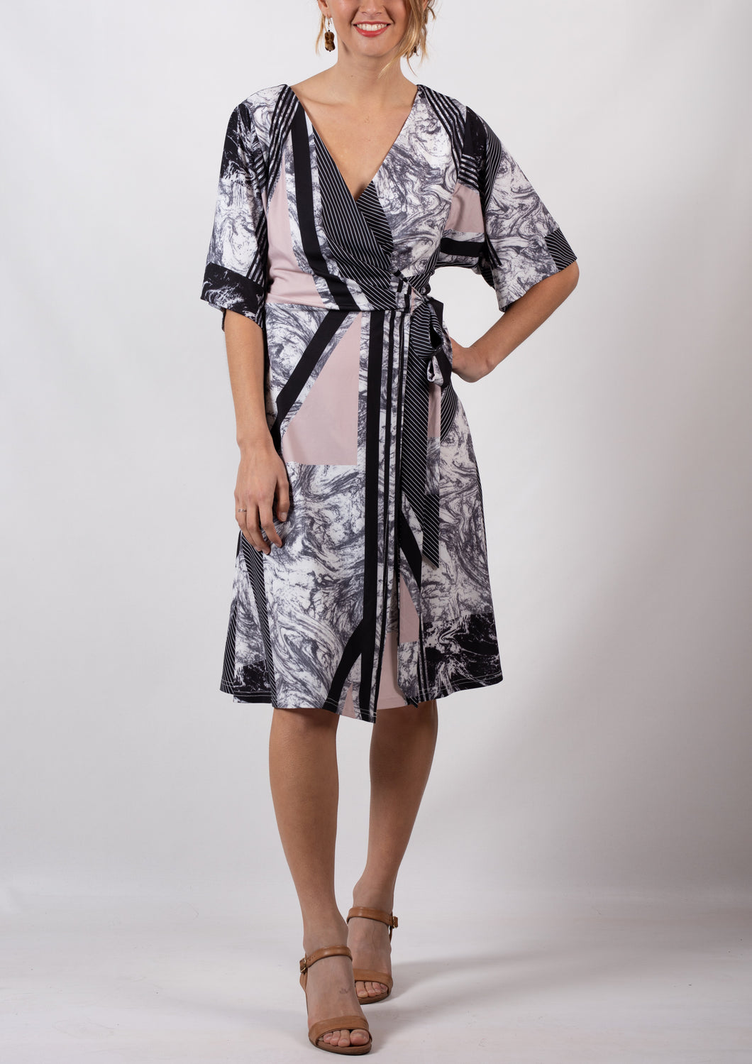 TG2503-7TB Pink Marble Wrap Dress (Pack)