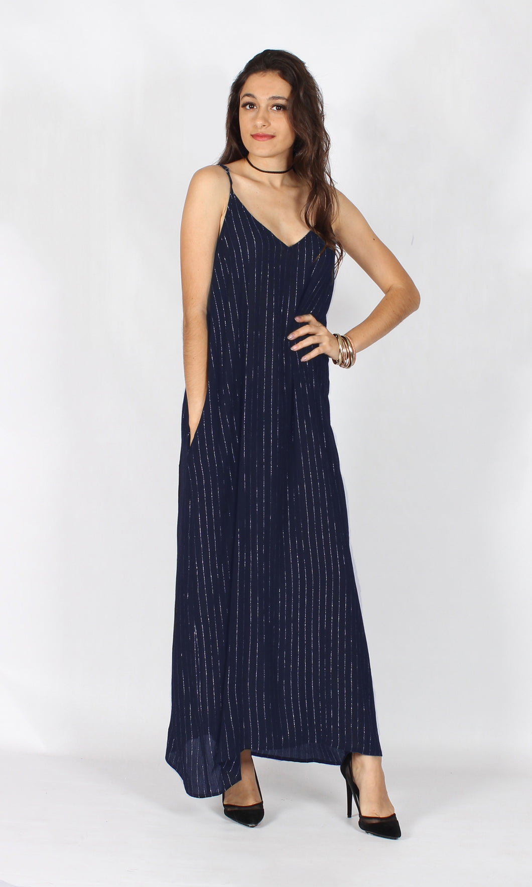 YS1788SS LUREX NAVY MAXI DRESS (Pack)