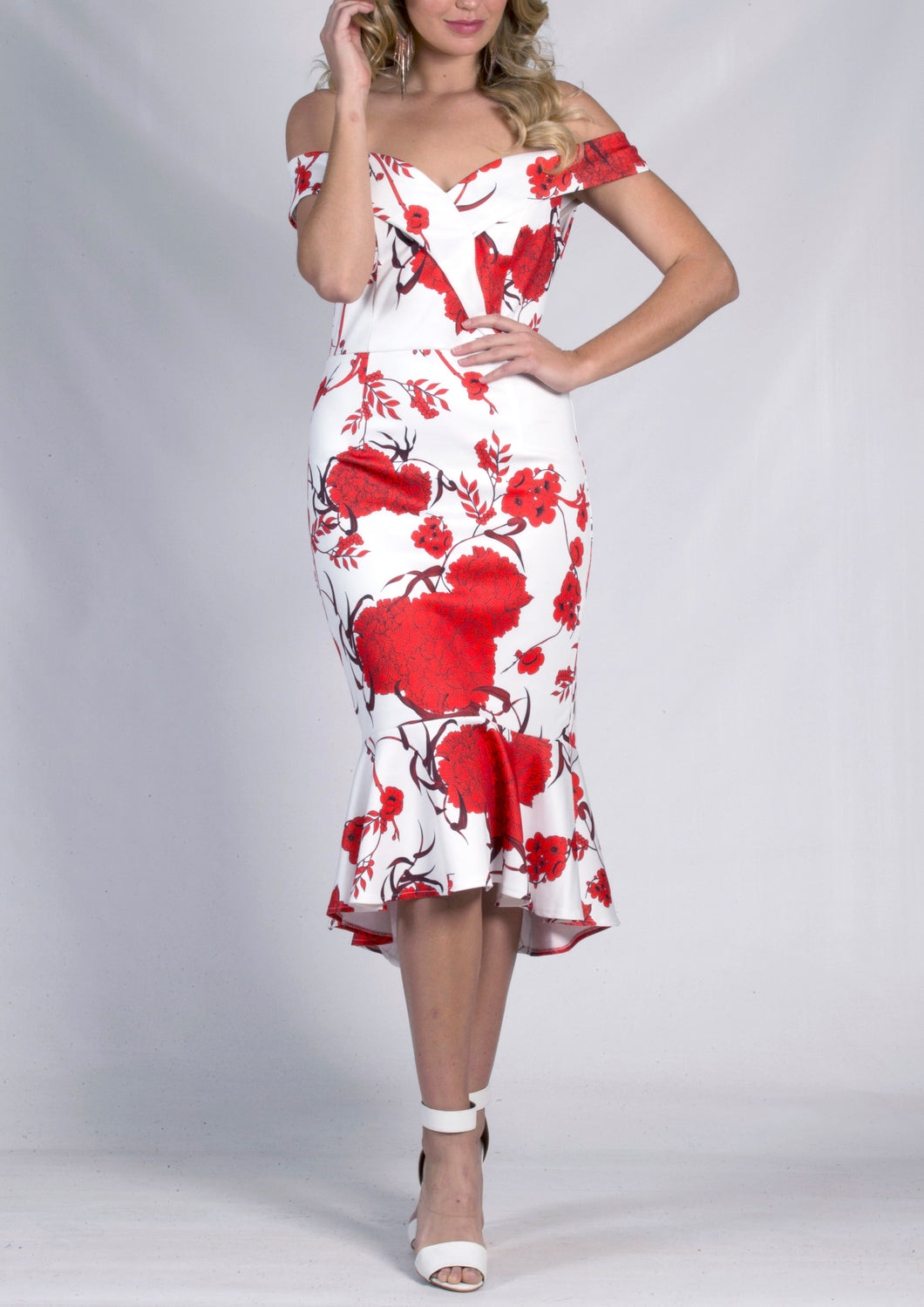 RC0824-2TB Printed Off Shoulder Midi Dress (Pack)