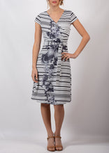 YW17169TB Striped Floral Grey Dress (Pack)