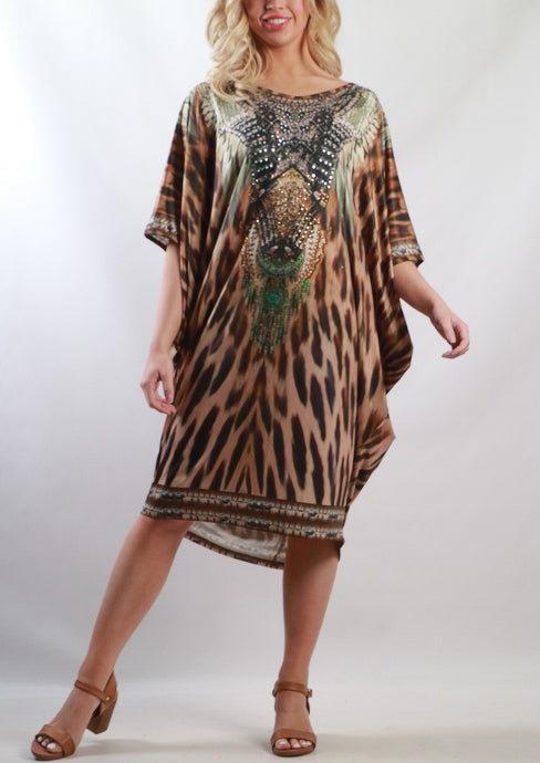HS6002-17SS Leopard Printed Batwing Kaftan (Pack) New Arrival