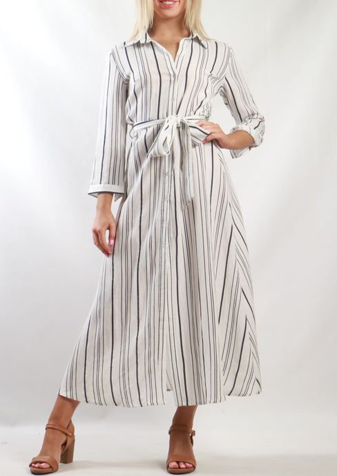 YW2149SS Button Down Stripe Dress (Pack) New Arrival