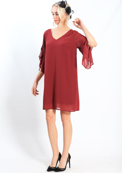 RV0998-7NC Chiffon Ruffle Sleeve Dress (Pack)