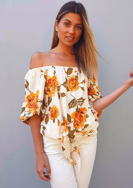 LA0324-2SS Off Shoulder Floral Top (Pack)
