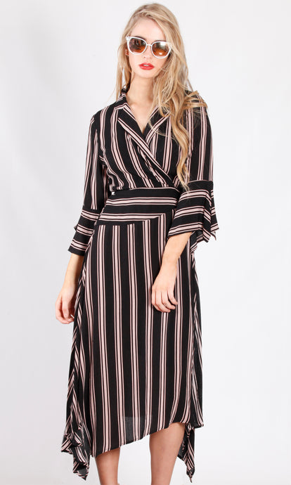 YW2051SS Striped Wrap Maxi Dress (Pack)