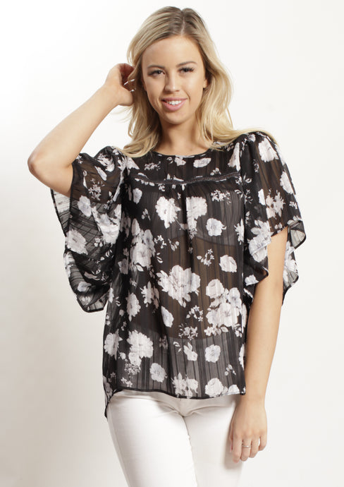YW2342SS Floral Chiffon Top (Pack) New Arrivals