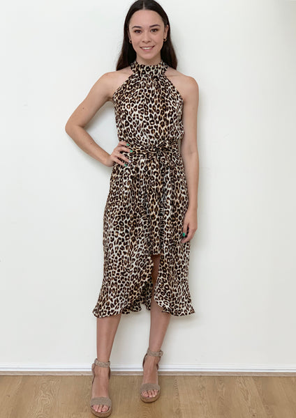 YW22012-4SS Halterneck Leopard Print Dress (Pack) New Arrivals