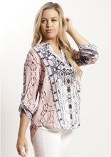 HS13021-173SS Pastel Mosaic Printed Johnny Collar Top (Pack) New Arrivals