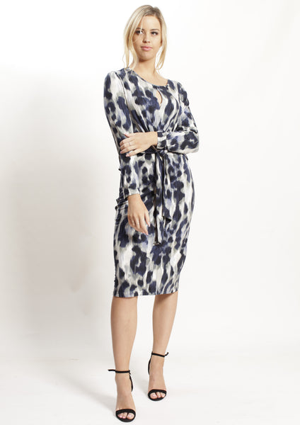 AY126-1TB Leopard Print Navy Dress (Pack)