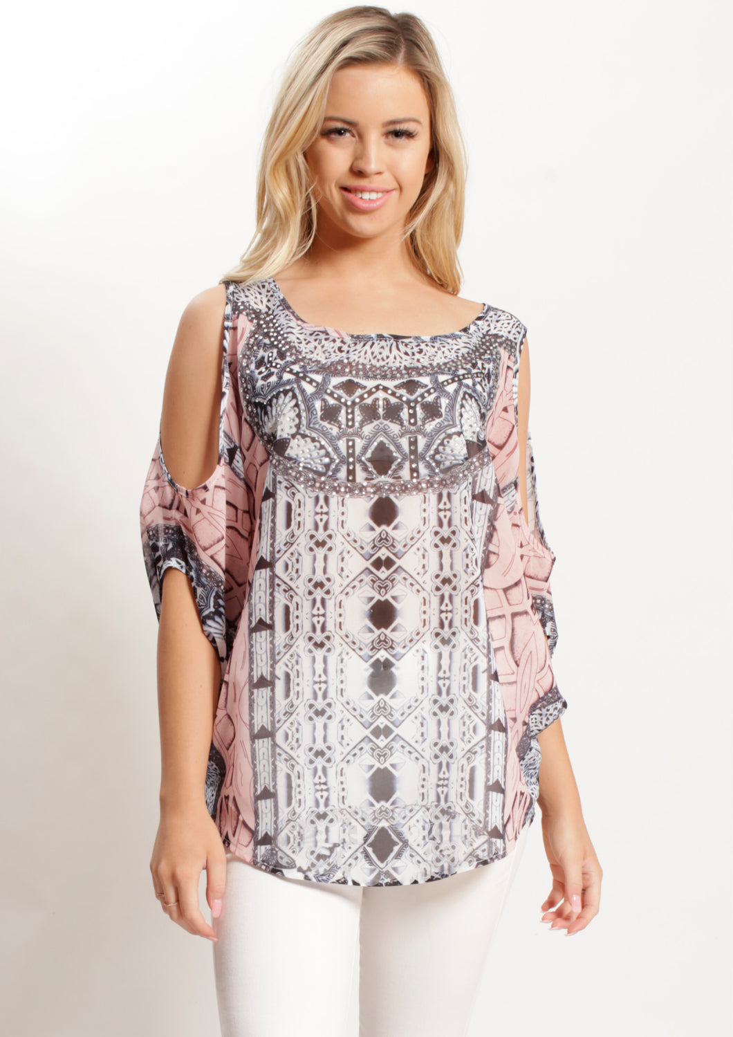 XW12317-85SS  Pastel Mosaic Printed Cold Shouldet Top (Pack)
