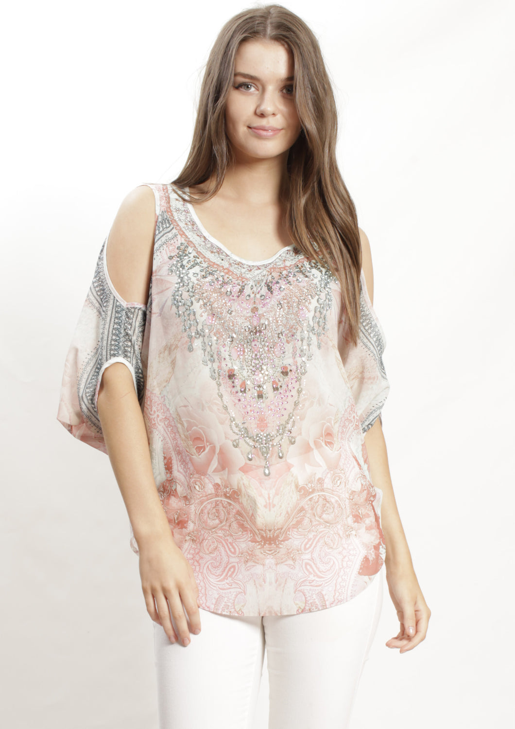 XW12317-86SS Rose Embellished Top (Pack)