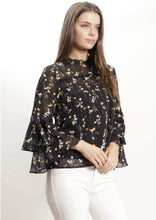 YW17084-1SS Floral Chiffon Top With Ruffle Sleeve  (Pack)