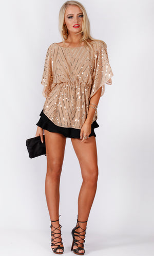 A627AHSS SEQUIN BATWING TOP (Pack)