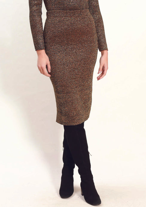 LA0072-2SS Dark Gold Shimmer Knit Skirt (Pack)