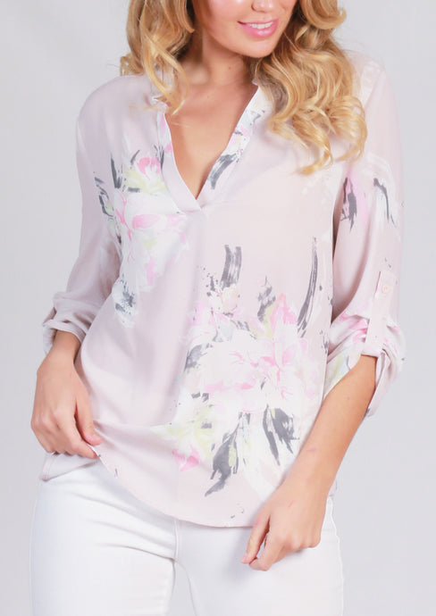 HS13021-157SS Floral Printed Johnny Collar Blouse (Pack) New Arrival