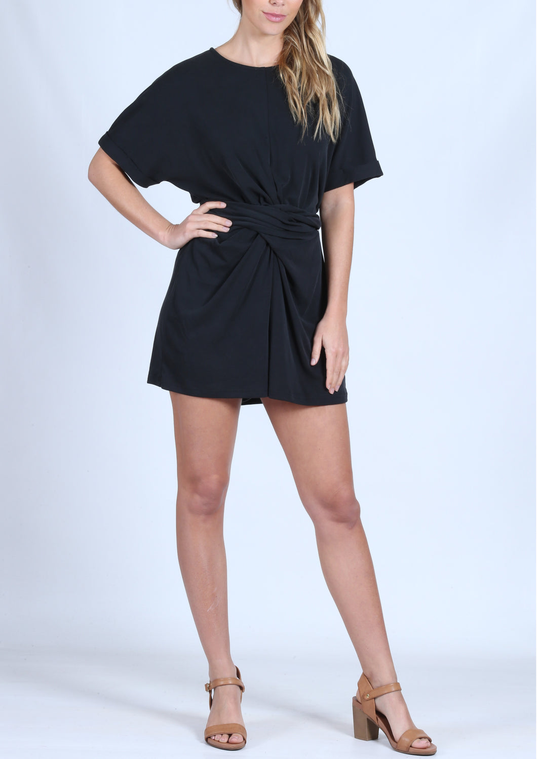 YW2130SS Tie Front Shirt Dress (Pack)