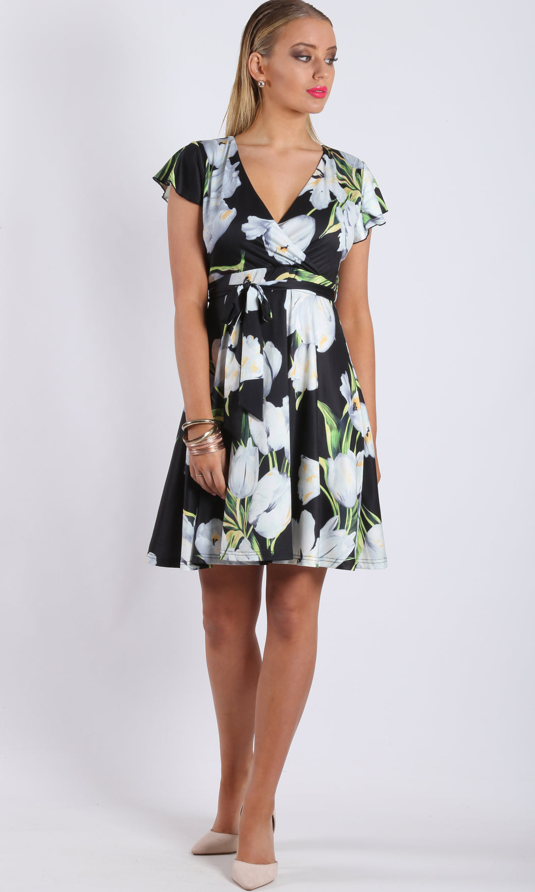 Jersey Flutter Sleeve Wrap Dress