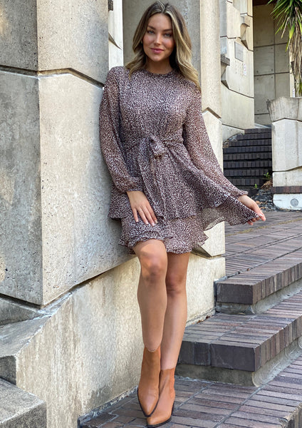 LA0159SS Leopard Long Sleeve Ruffle Dress (Pack)