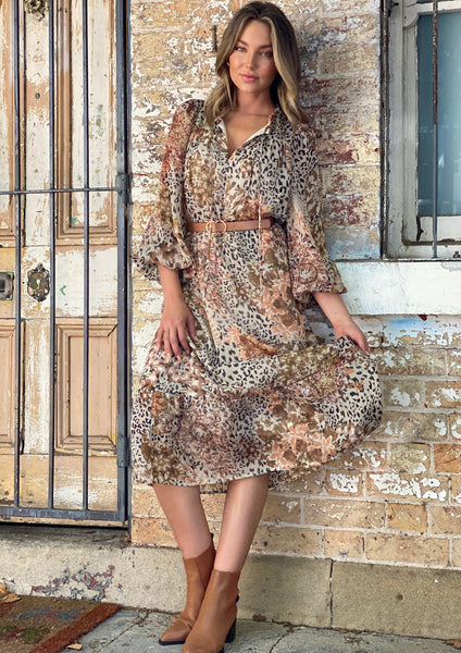 LA0611SS Leopard Floral Print Midi Dress (Pack)