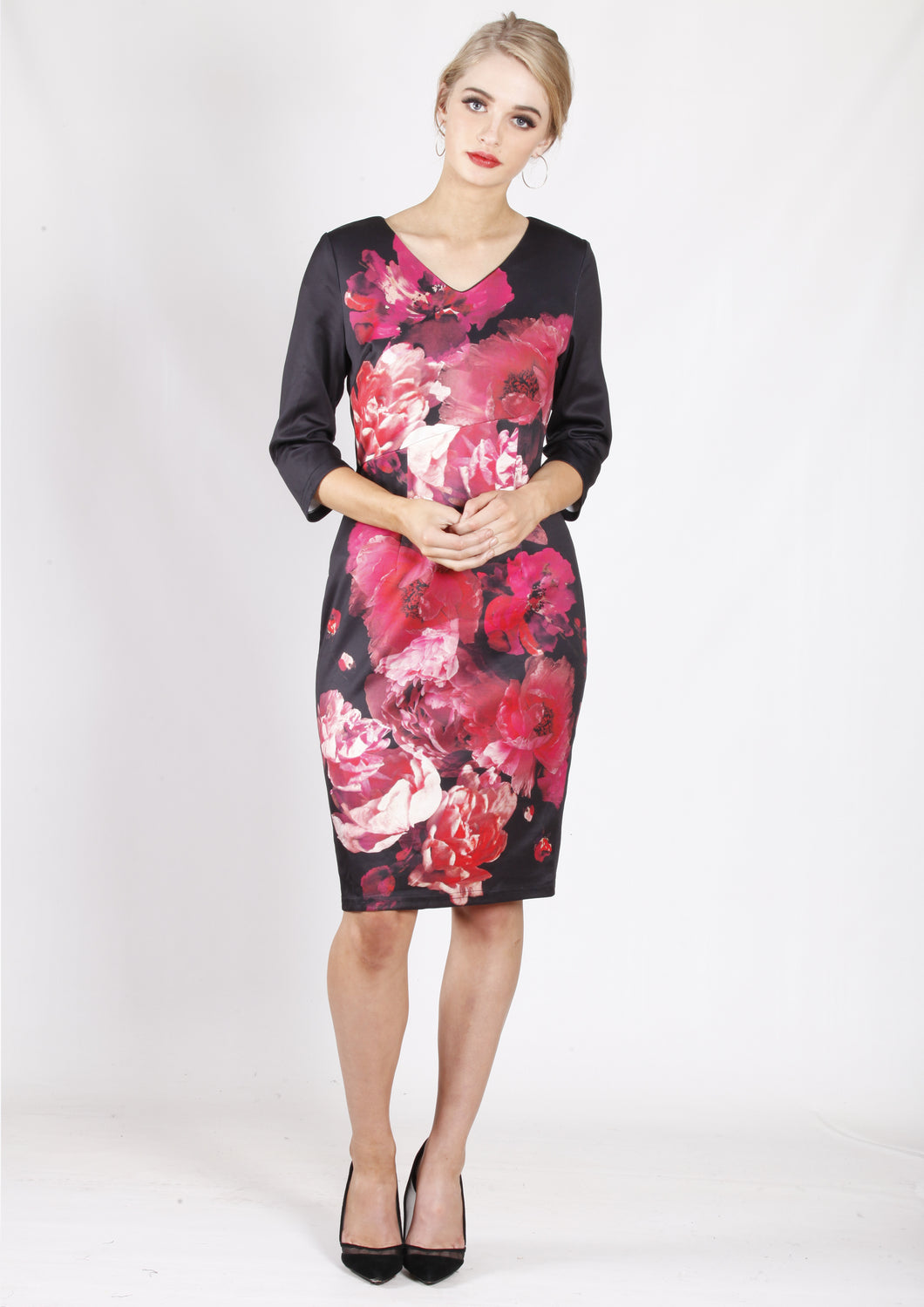 VS7388TB Floral Print Long Sleeve Dress (Pack)