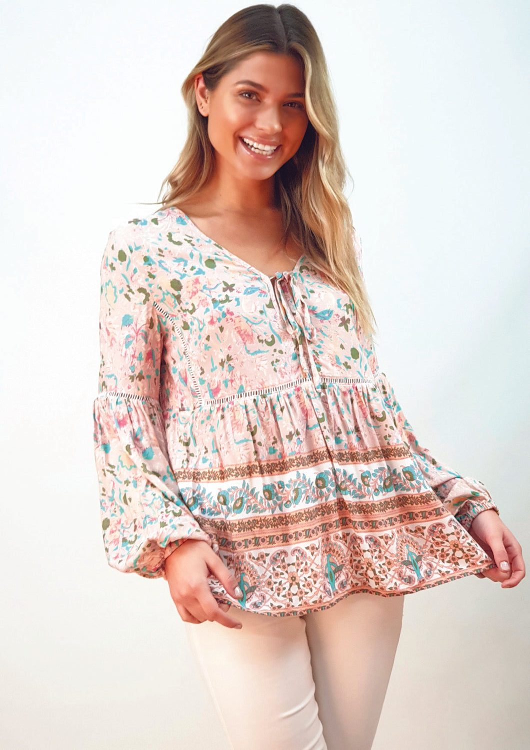 LA0293SS Boho Floral Top (Pack) On Sale