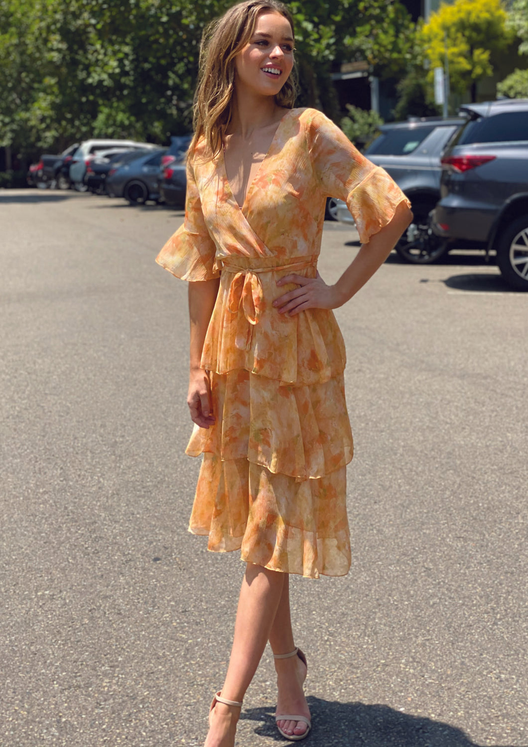 LA0211-3SS Orange Floral Dress (Pack)