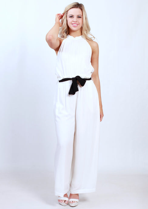 XW16270SS White Floral Jumpsuit (Pack) New Arrival