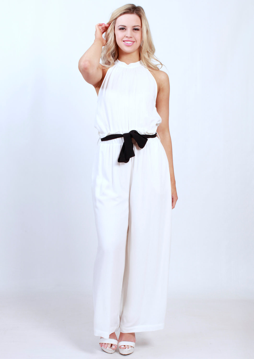 XW16270SS White Floral Jumpsuit (Pack)