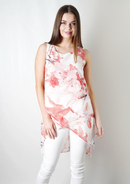 JS0212-5TB Asymmetric Printed Layered Top (Pack)