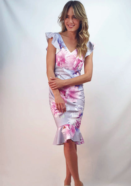 V6408-6TB Floral Ruffle Sleeve Dress (Pack) On Sale