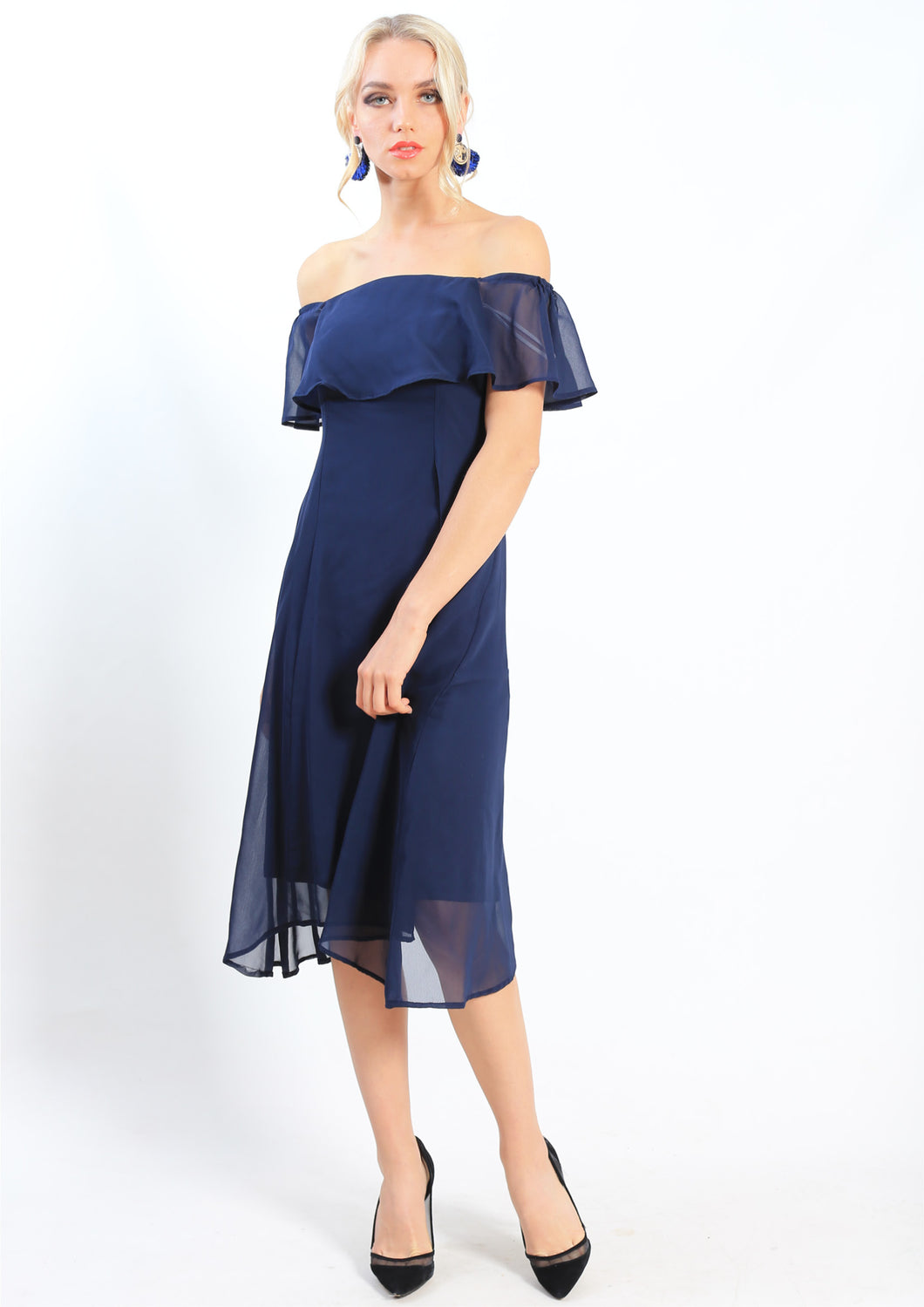 WA0229-1TB  Ruffle Overlay Off Shoulder Dress (Pack)