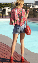 Floral & Pinstripe Red Print Top