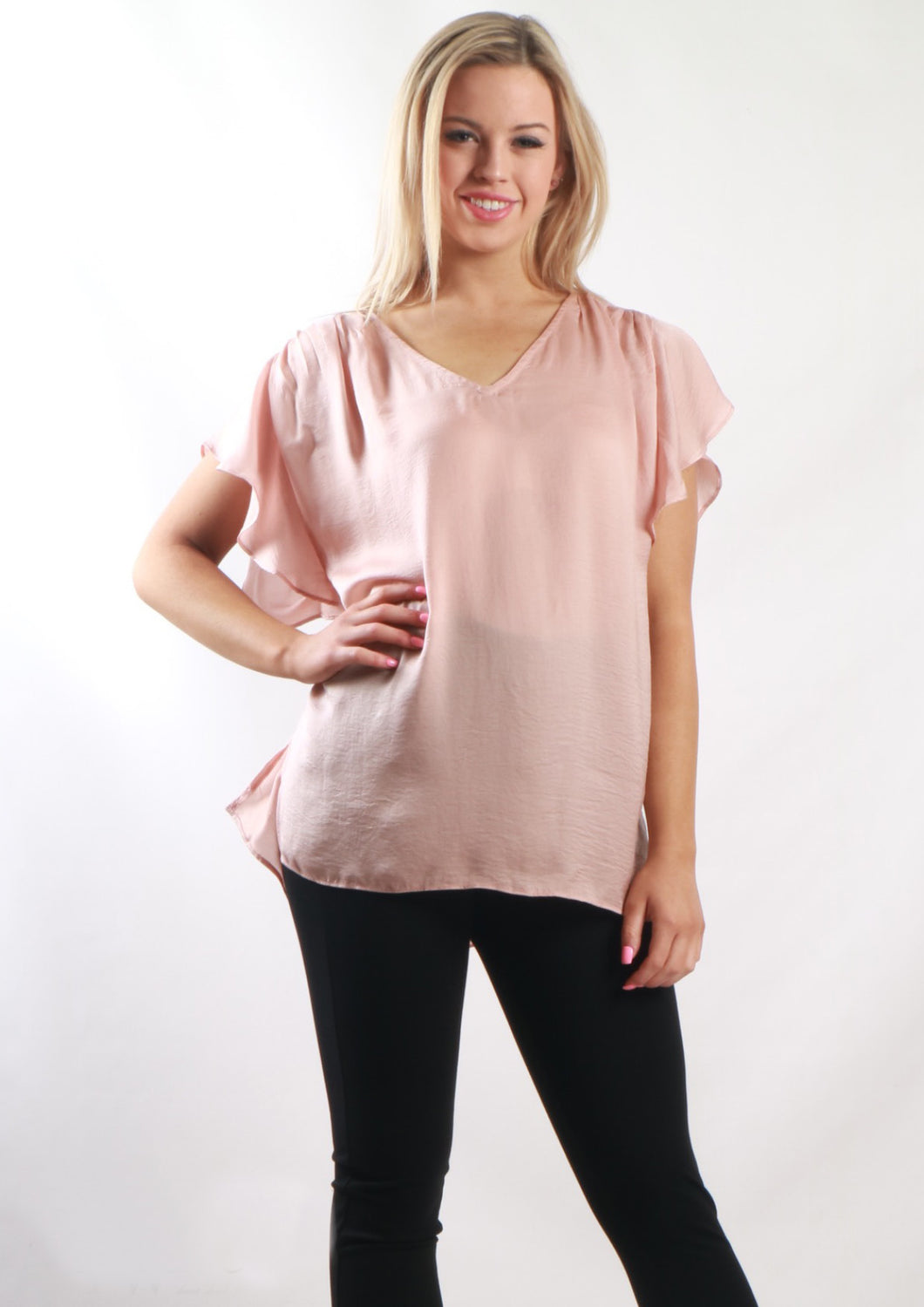 YW2253SS Ruffle Sleeve V-Neck Top (Pack) New Arrival