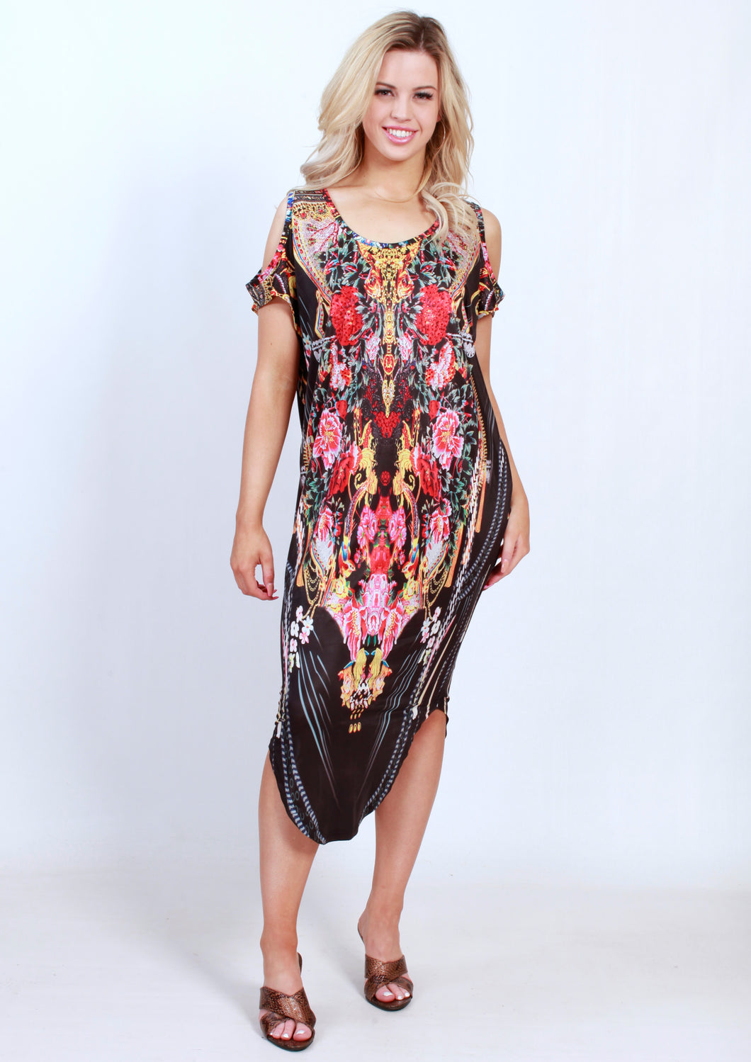 CH1070-57SS Dark Floral Cold Shoulder Tunic (Pack) New Arrival