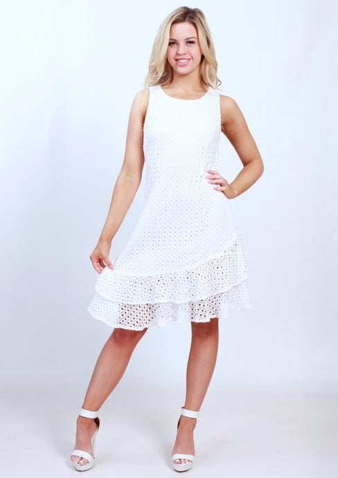 V21SS Lace Double Ruffled Dress  (Pack) New Arrival